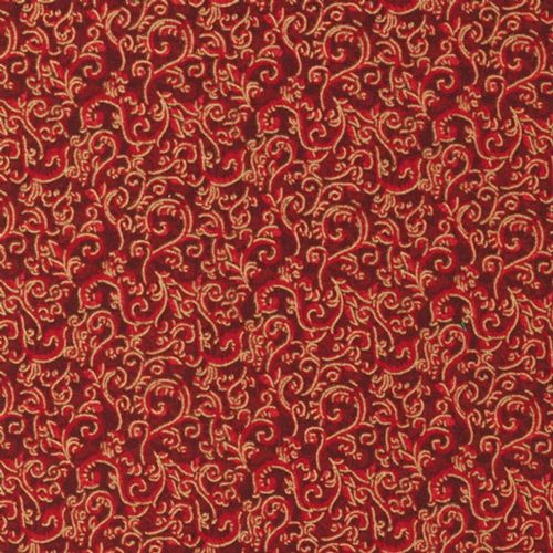 Fabri Quilt Seasons Greetings Metallic Red 51702 Christmas Fabric